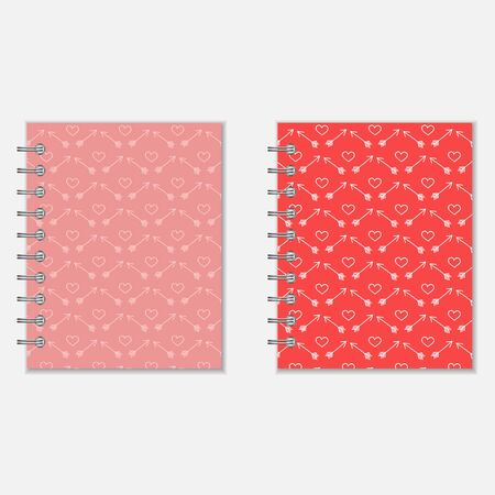 pocket book: Notebook cover design with heart and arrows pattern. Love diary in pink and red colors