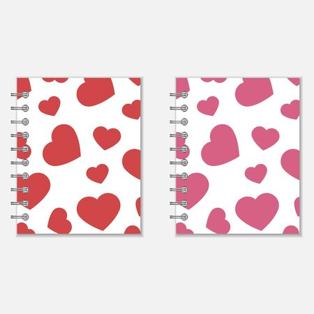 spiral notebook: Spiral notebook heart design. Love diary in pink and red colors