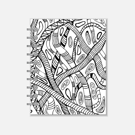 pocket book: Ring- bound notebook cover design with hand drawn snake pattern. Black and white style Illustration