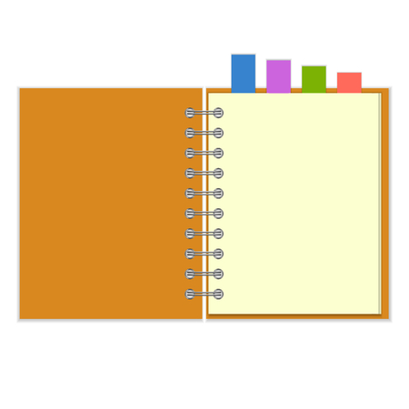 empty pocket: Open blank ring-bound notebook with colorful bookmarks