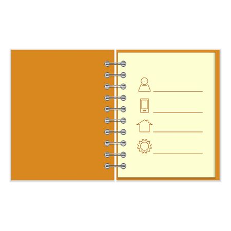pocket book: Ring-bound notebook with personal information. Orange cober pocket book on white background