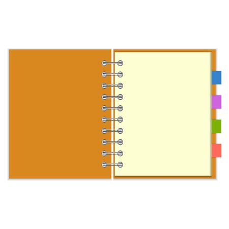Open blank ring-bound notebook with orange cover and colorful bookmarks