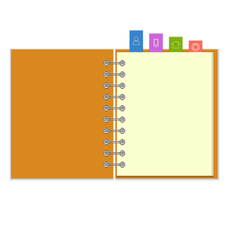 copybook: Open blank ring-bound notebook with colorful information  bookmarks
