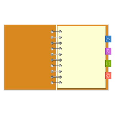 pocket book: Open blank ring-bound notebook with orange cover and colorful information bookmarks Illustration