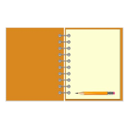 pocketbook: Blank ring-bound notebook and pencil on white background
