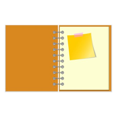 open notebook: Open notebook with yellow sticker on white background