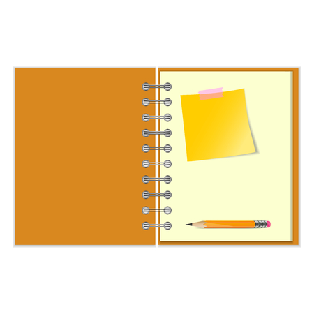 pocket book: Open notebook with yellow sticker and pencil on white background Illustration