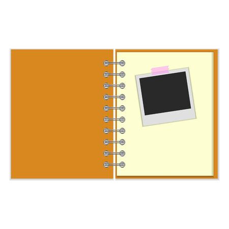 open notebook: Open notebook with photo stuck with