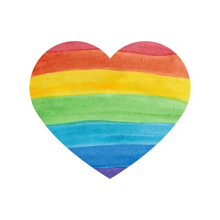 water color: Water color textured rainbow heart on white background Illustration