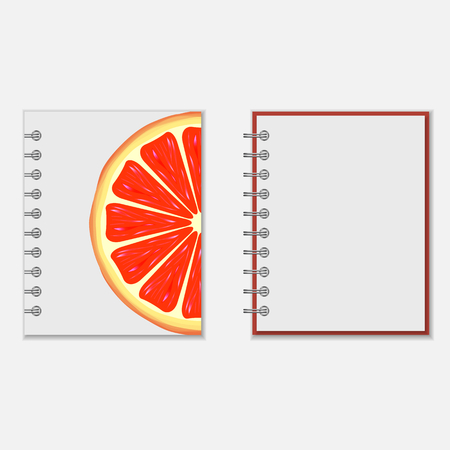 pocket book: Ring-bound notebook cover design with bright grapefruit on white. Isolated on white Illustration