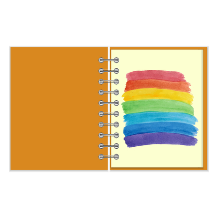 pocket book: Open ring-bound notebook with painted water color rainbow