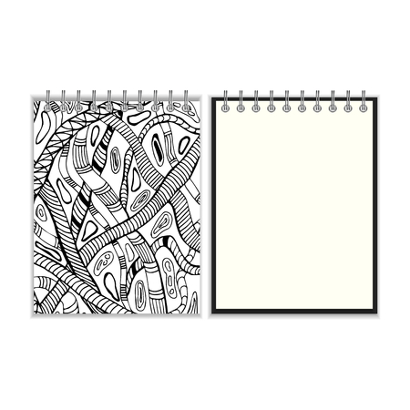 pocket book: Ring bound notebook with hand drawn black and white snake design cover. Isolated on white
