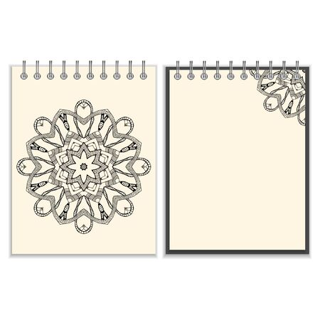 pocket book: Ring-bound notebook with hand drawn black round pattern including snakes elements on white cover and pages