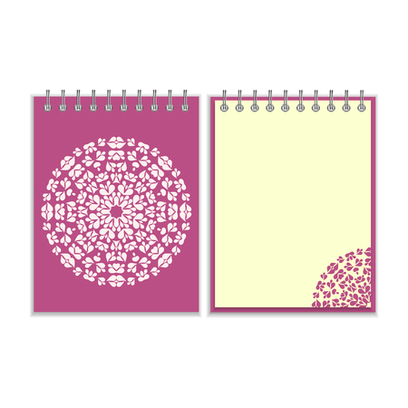 pocket book: Purple cover notebook with ornate white round pattern and same design element on the pages. Isolated on white background
