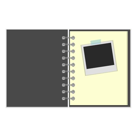 scotch: Open grey cover notebook with photo stuck with scotch on white background