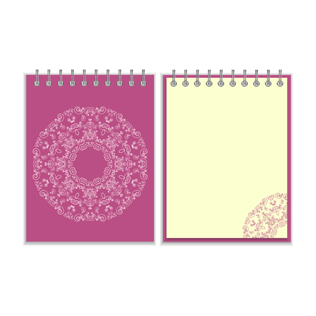 pocket book: Notebook with purple cover and ornate flower white round pattern and same design element on the pages. Isolated on white background