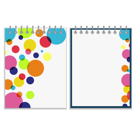 pocket book: Ring-bound notebook with bright colorful cover design. Jolly rainbow circles on white background