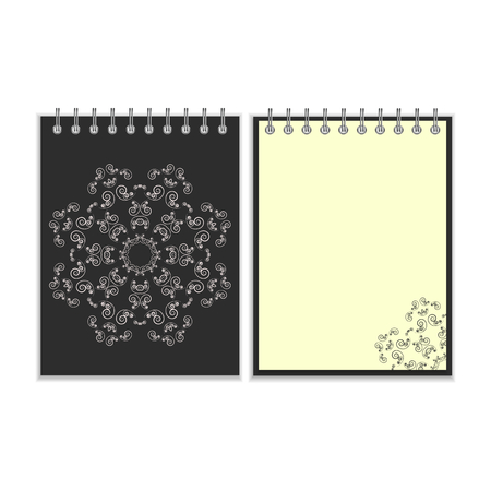 pocket book: Notebook with black cover and ornate flower white star pattern and same design element on the pages. Isolated on white background Illustration