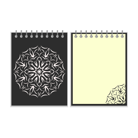 pocket book: Black cover notebook with ornate flower white round pattern and same design element on the pages. Isolated on white background Illustration