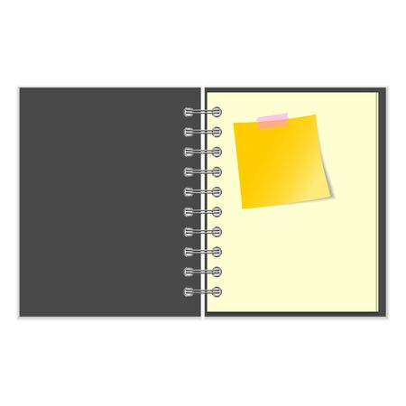 pocket book: Open grey cover notebook with yellow sticker on white background Illustration