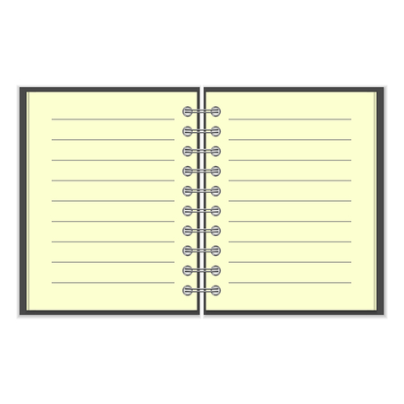 spiral notebook: Open spiral lined notebook with black cover isolated on white background Illustration