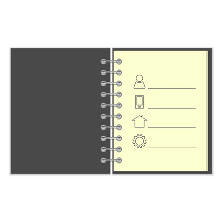 pocket book: Ring-bound notebook with personal information. Grey cover pocket book on white background