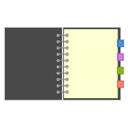 notebook cover: Open blank ring-bound notebook with grey cover and colorful information bookmarks