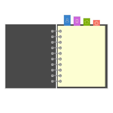 pocketbook: Open grey cover blank ring-bound notebook with colorful information  bookmarks Illustration