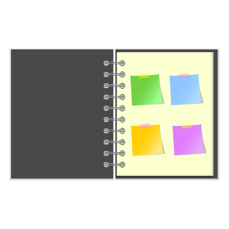 notebook cover: Open grey cover notebook with four colorful stickers on white background