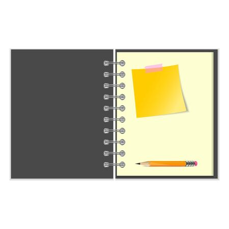 Open grey cover notebook with yellow sticker and pencil on white background Vector