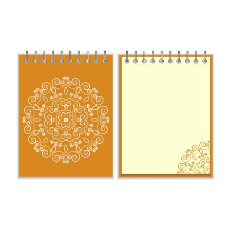 notebook cover: Orange cover notebook with ornate floral white round pattern and same design element on the pages. Isolated on white background Illustration