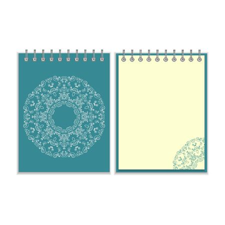 notebook cover: Notebook with blue cover and ornate flower white round pattern and same design element on the pages. Isolated on white background Illustration