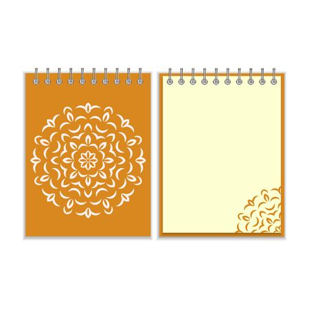 notebook cover: Ring-bound notebook with orange cover and ornate flower white round pattern and same design element on the pages. Isolated on white background Illustration