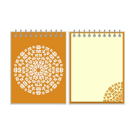 notebook cover: Orange cover notebook with ornate white round pattern and same design element on the pages. Isolated on white background Illustration