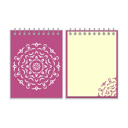 notebook cover: Ring-bound notebook with purple cover and ornate flower white round pattern and same design element on the pages. Isolated on white background Illustration