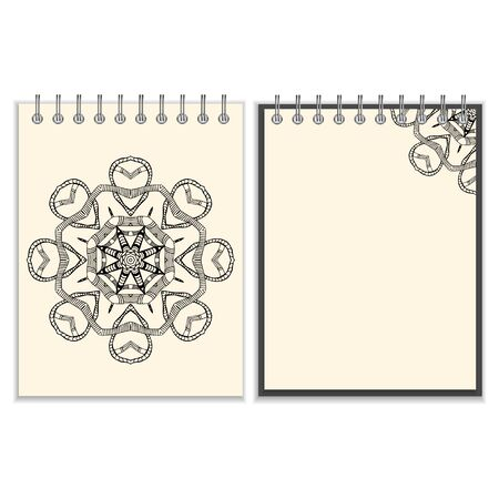 worm snake: Ring-bound notebook with hand drawn black round pattern with snakes elements on white cover and pages. Isolated on white Illustration