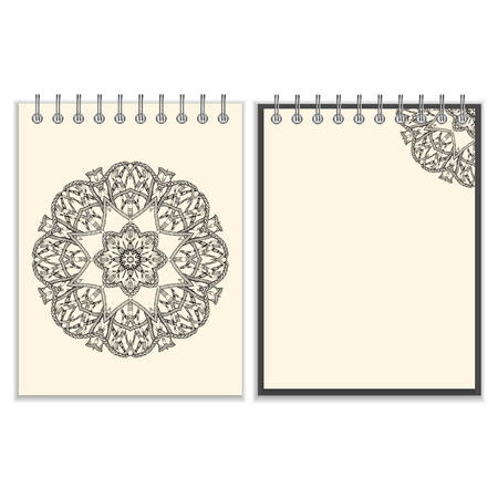 notebook cover: Ring-bound notebook with hand made black round pattern with snakes elements on white cover and pages, isolated on white background Illustration