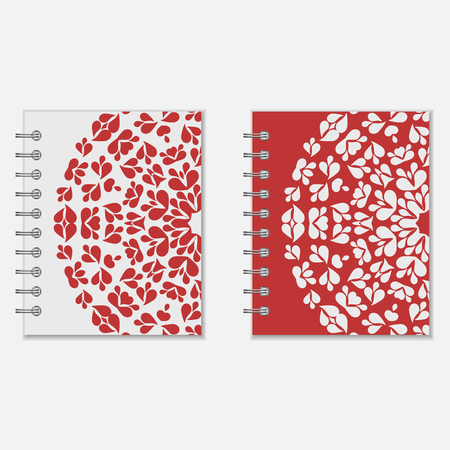 Spiral notebook cover design. Two variants of red and white floral round pattern