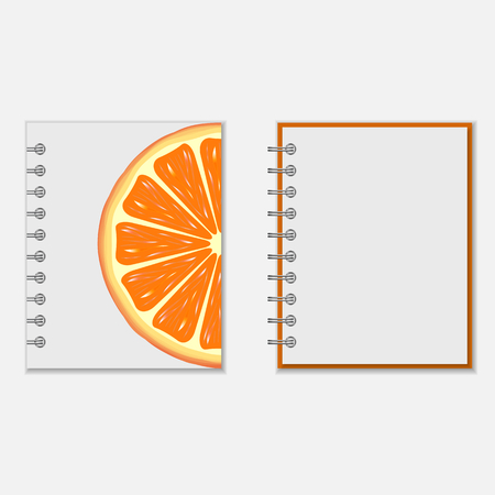 notebook cover: Ring-bound notebook cover design with bright orange on white. Isolated on white
