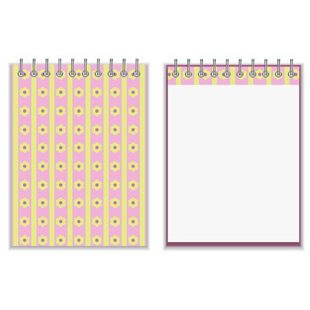 Floral style pink and yellow notebook cover design with same element on the page. Isolated on white Vector