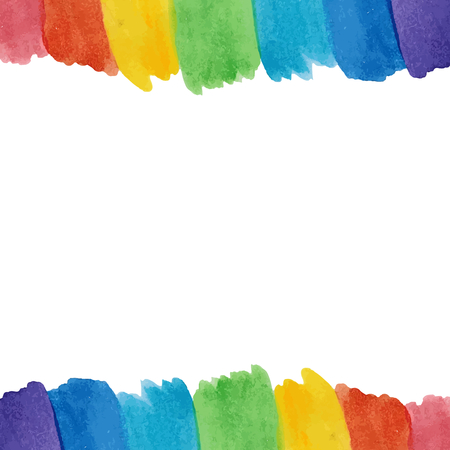 Water color rainbow strokes up and downside on white background