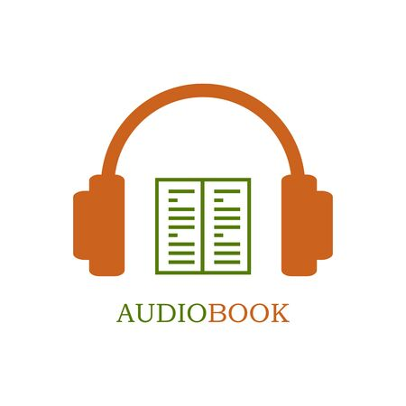 audiobook: Green and orange audiobook icon on white background. Headphones and open book