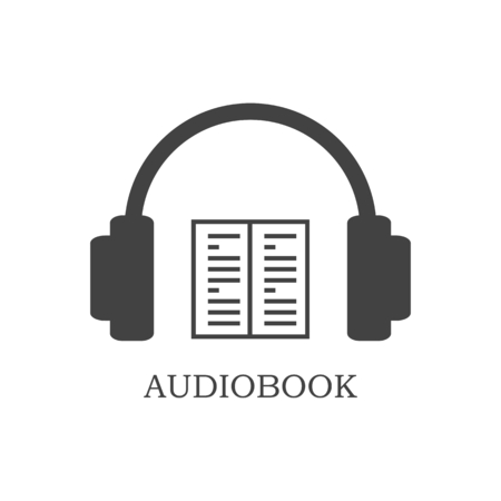 audiobook: Grey audiobook icon on white background. Headphones and open book