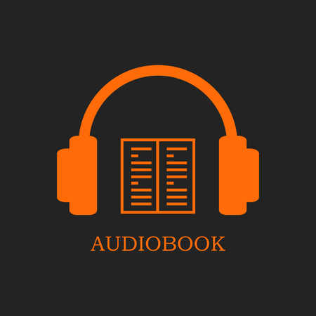 audiobook: Orange audiobook icon on black background. Headphones and open book