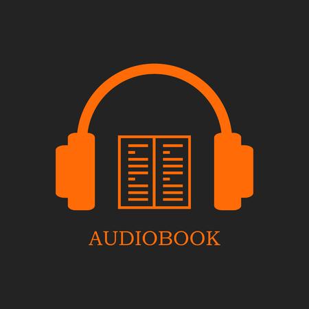 Orange audiobook icon on black background. Headphones and open book
