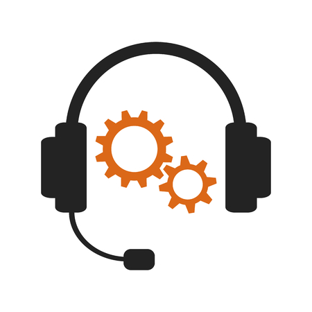 telephone call: Support service call. Black headset with orange gearwheels on white background Illustration
