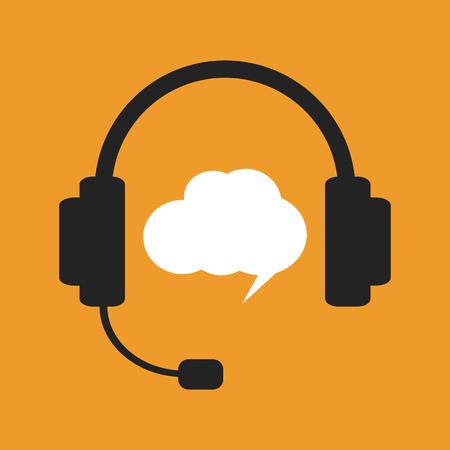 hotline: Black headphones and white chat bubble on orange background. Support call, hotline operator Illustration