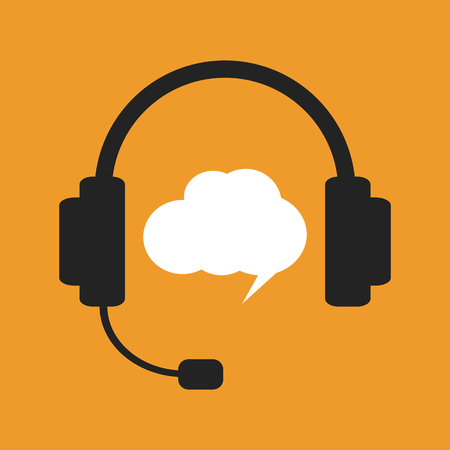 Black headphones and white chat bubble on orange background. Support call, hotline operator Illustration