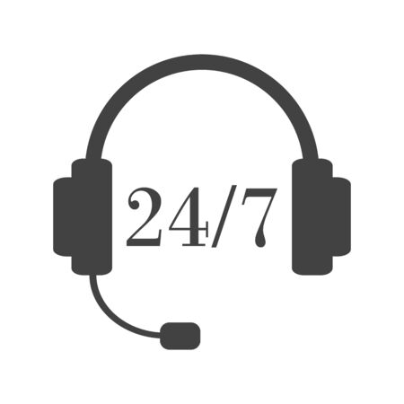 Day and night support service. Calling the operator any time. Headset with twenty-four-seven sign. Grey abd white illustration