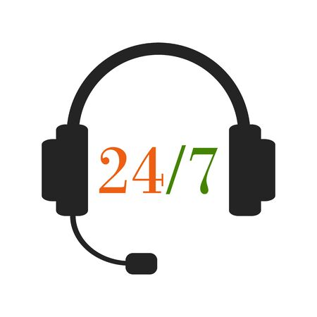 overnight: 24h support service. Calling the operator any time. Headset with twenty-four-seven sign. Color illustration